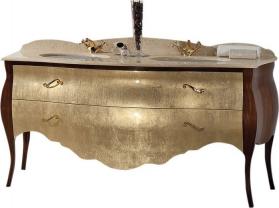 Gallo Wood GELSO BIC 175-S skříňka s umyvadlem, š.175cm, mramor Silvia Oro, noce/oro GB-175S