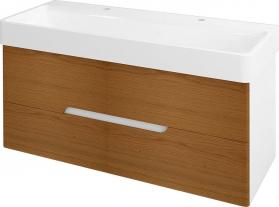 Sapho MEDIENA umyvadlová skříňka 117x50, 5x48, 5cm, bílá mat/dub natural MD122
