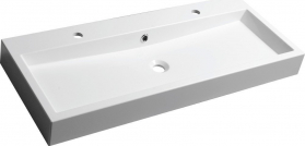 Sapho ORINOKO umyvadlo 100x42cm, 2 otvory pro baterii, litý mramor, bílá OR101
