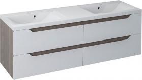 Sapho WAVE dvojumyvadlová skříňka 149, 7x50x47, 8cm, bílá/mali wenge (WA150) WA150-3021