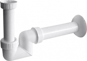 Sapho Umyvadlový sifon 1'1/4 nízký, odpad 40 mm, bílá CV1025
