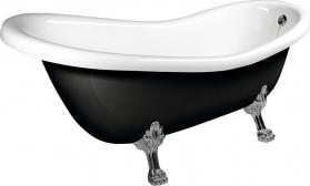 Polysan RETRO volně stojící vana 158x73x72cm, nohy chrom mat, černá/bílá 72970