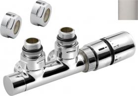 Sapho TWIN připojovací sada ventilů termostatická pro středové připojení 50mm, broušený nerez CP3520S