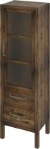 Sapho WESTERN skříňka 2 šuplíky, prosklená dvířka 40x140x30cm, pravá, mořený smrk WR500