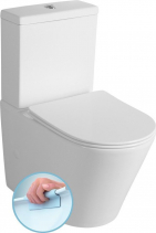 Sapho PACO WC kombi Rimless + Slim Soft Close sedátko, spodní/zadní odpad, bílá PC1012R