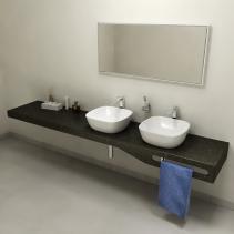 Sapho TAILOR+ rockstone deska 250x50 cm, límec C, držák ručníku vpravo TRP250C
