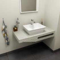 Sapho TAILOR+ rockstone deska 100x50 cm, límec L, držák ručníku vpravo TRP100L