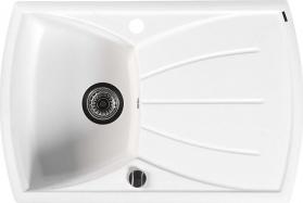 Sapho Dřez granitový vestavný s odkapávací plochou, 77x51 cm, bílá GR1101
