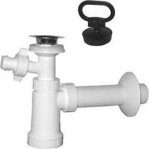 Sapho Umyvadlový sifon s odbočkou, nerez výpust, zátka s uchem odpad 40 mm , bílá CV1014