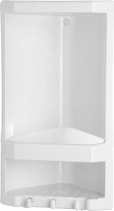 Aqualine JUNIOR dvoupatrová rohová polička, 189x385x139 mm, termoplast, bílá 8079