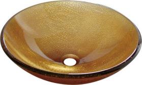 Sapho SUN skleněné umyvadlo průměr 42 cm, medová 2501-03