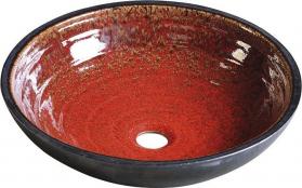Sapho ATTILA keramické umyvadlo, průměr 42, 5 cm, tomatová červeň/petrolejová DK007