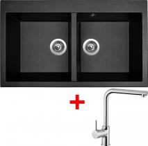 Granitový dřez Sinks AMANDA 860 DUO Metalblack+ELKA AM860D74ELCL