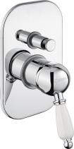 Sapho KIRKÉ WHITE podomítková sprchová baterie, 2 výstupy, bílá páčka, chrom KI42BC