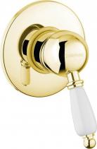 Sapho KIRKÉ WHITE podomítková sprchová baterie, 1 výstup, bílá páčka, zlato KI41BZ
