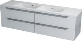 Sapho WAVE dvojumyvadlová skříňka 180x50x48cm, bílá/dub stříbrný WA182