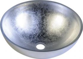Sapho MURANO ARGENTO skleněné umyvadlo kulaté 40x14 cm, stříbrná AL5318-52