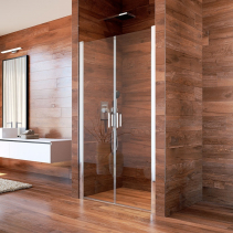 Mereo Sprchové dveře, LIMA, dvoukřídlé, lítací, 80 cm, chrom ALU, sklo Čiré CK80513K