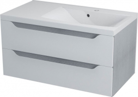 Sapho WAVE umyvadlová skříňka 89, 7x45x47, 8cm, pravá, bílá/dub stříbrný WA095P
