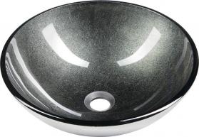 Sapho SKIN skleněné umyvadlo průměr 42 cm, šedá metalická 2501-16