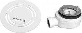 Polysan FLEXIA vaničkový sifon, průměr 90mm, DN40, kulatá krytka bílá 91422
