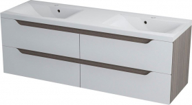Sapho WAVE dvojumyvadlová skříňka 149, 7x50x47, 8cm, bílá/mali wenge WA150