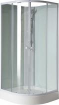 Aqualine AIGO čtvrtkruhový sprchový box 900x900x2060 mm, bílý profil, čiré sklo YB93