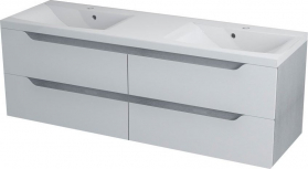 Sapho WAVE dvojumyvadlová skříňka 149, 7x50x47, 8cm, bílá/dub stříbrný WA152
