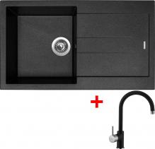 Granitový dřez Sinks AMANDA 860 Metalblack+VITALIA GR AM86074VIGR74