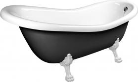 Polysan RETRO volně stojící vana 173x75x84cm, nohy bílé, černá/bílá 72965
