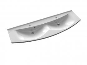Sapho ARAS dvojumyvadlo 150x51cm, litý mramor, bílá 91542