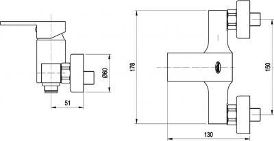 Aqualine CANTINO nástěnná sprchová baterie, chrom 1126-11