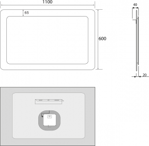 Sapho LORDE LED podsvícené zrcadlo s přesahem 1100x600mm, bílá NL603