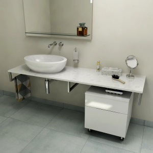 Sapho OLIVER deska 90x2x50cm, technický mramor, Calacatta OV090-1219