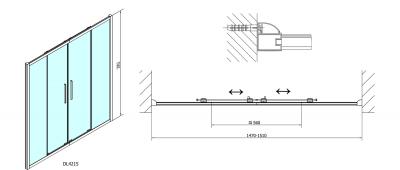 Polysan Lucis Line obdélníkový sprchový kout 1500x900mm L/P varianta DL4215DL3415