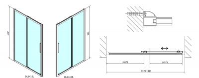 Polysan Lucis Line obdélníkový sprchový kout 1400x800mm L/P varianta DL1415DL3315