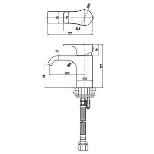 Sapho SMALL stojánková umyvadlová baterie bez výpusti, 122mm, chrom SM08