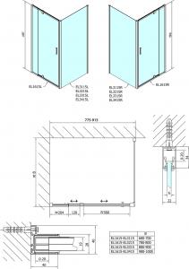 Polysan Easy Line obdélník/čtverec sprchový kout pivot dveře 800-900x900mm L/P varianta EL1615EL3315