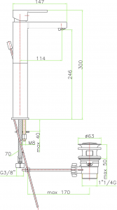 Sapho ESPADA stojánková umyvadlová baterie vysoká s výpustí, chrom ES06