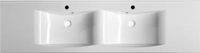 Sapho LUCIOLA dvojumyvadlo 180x48cm, litý mramor, bílá 50184