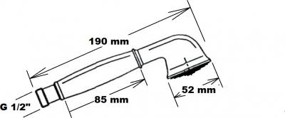 Reitano Rubinetteria ANTEA ruční sprcha, 180mm, mosaz/zlato DOC25