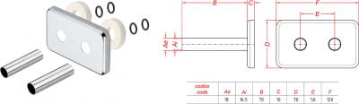 Sapho Krycí rozeta obdélníková k připojovací sadě TWIN, broušený nerez CP7535