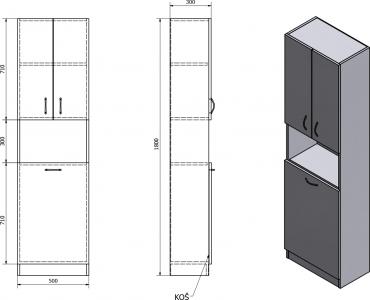 Aqualine SIMPLEX ECO vysoká skříňka s košem 50x180x30cm SIME510