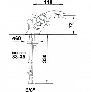 Reitano Rubinetteria ANTEA stojánková bidetová baterie s výpustí, nikl 3188