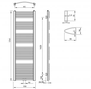 Aqualine STING otopné těleso 550x1741 mm, středové připojení, 839 W, bílá NG517