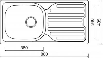 Nerezový dřez Sinks CLASSIC 860 V 0,6mm matný STSCLM8604356V