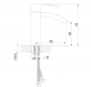 Sapho GINKO 35 stojánková umyvadlová baterie bez výpusti, chrom 1101-02
