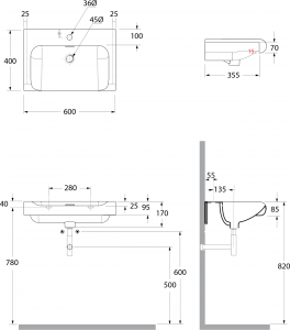 Kerasan INKA keramické umyvadlo 60x40cm, bílá 341101