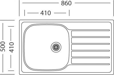Nerezový dřez Sinks HYPNOS 860 V 0,6mm matný STSHYM8605006V
