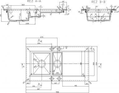 Sapho Dřez granitový vestavný s odkapávací plochou a vaničkou, 95, 8x53, 4 cm, béžová GR1302